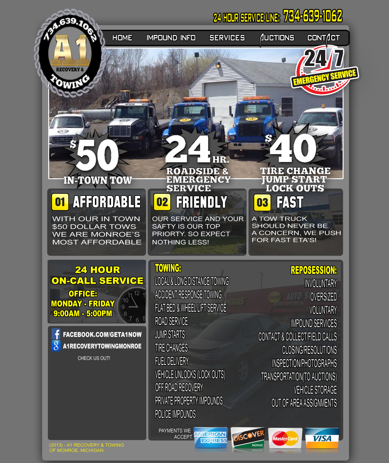 A1 Recovery and Towing - Monroe, Michigan's - Light Duty, Medium Duty and Heavy Duty Wrecker Service, Towing, Recovery and Roadside Service Provider - Tire ...